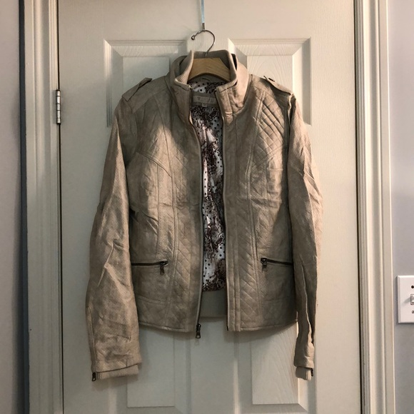 Guess Jackets & Blazers - Cream Textured Guess Moto Faux Leather Jacket